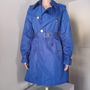 Burberry Blue Windbreaker Nylon Trench Coat